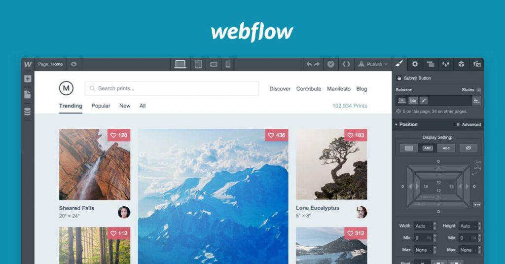 Webflow prototyping app