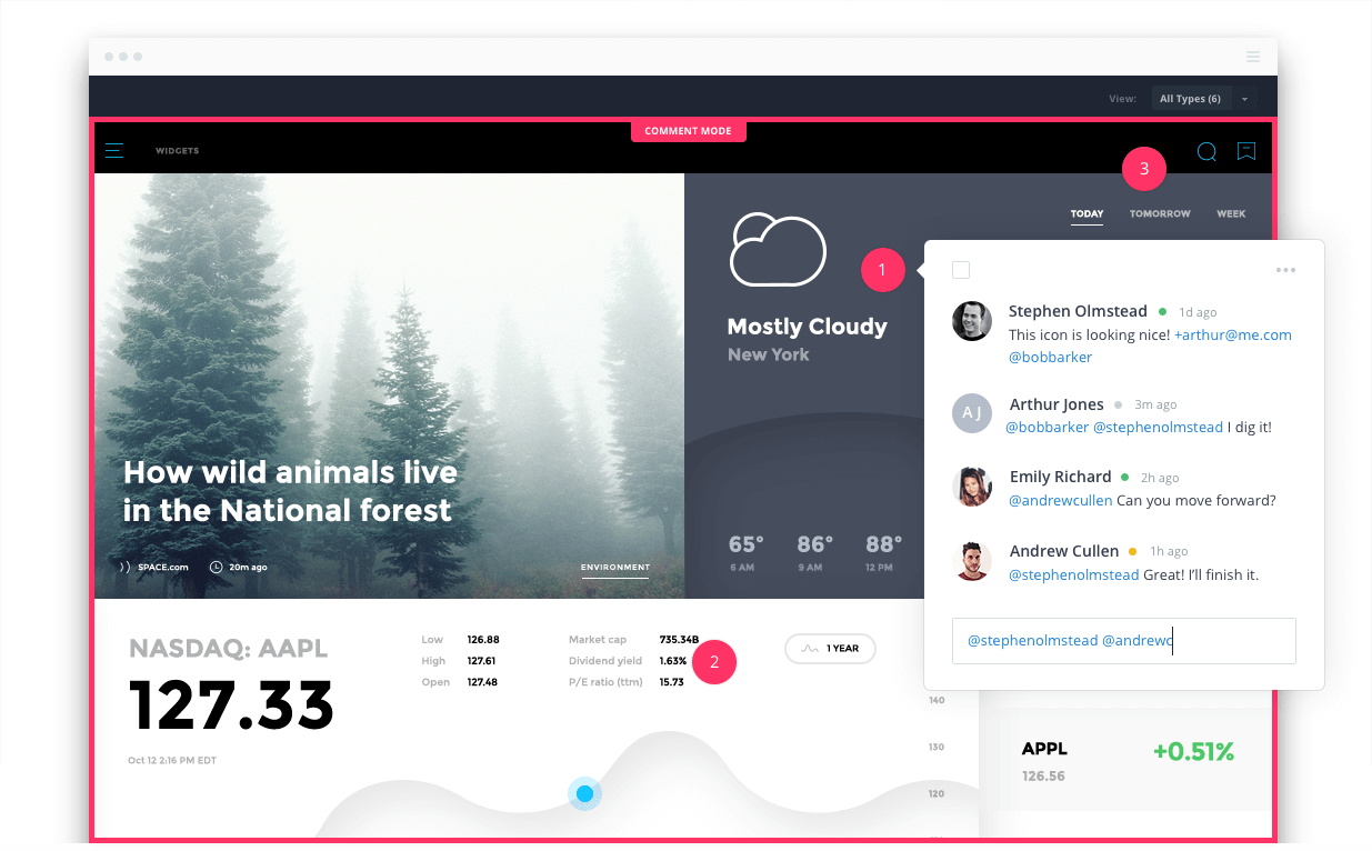 Invision app interface